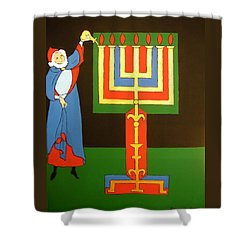 Shower Curtain featuring the painting Aaron Lighting The Menorah by Stephanie Moore
