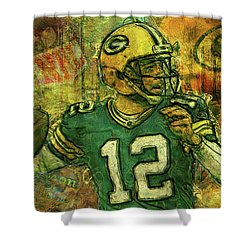 aaron rodgers 2 green bay packers shower curtain