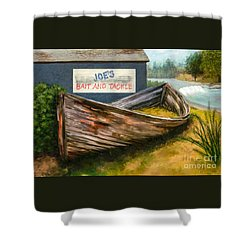 Painting Of Abandoned And Rotted Out Boat   Shower Curtain