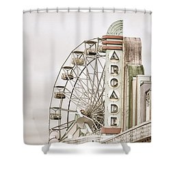 Shower Curtain featuring the photograph Abandoned Arcade And Ferris Wheel by Andy Crawford