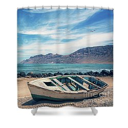 Abandoned Boat Shower Curtain by Delphimages Photo Creations