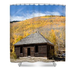 Shower Curtain featuring the photograph Abandoned Cabin Near The Old Mining Town Of Ironton by Carol M Highsmith