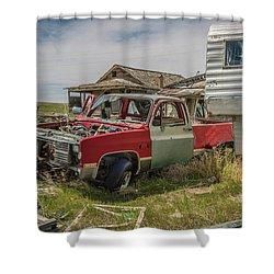 Abandoned Car And Trailer In The Ghost Town Of Cisco, Utah Shower Curtain