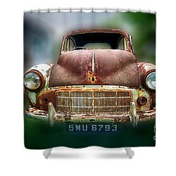 Shower Curtain featuring the photograph Abandoned Car by Charuhas Images