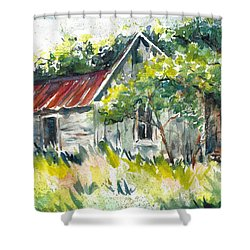 Abandoned Farmhouse In The Ozark Mountains On The Gravel Road To Hawk's Bill Crag At Whitaker Point Shower Curtain