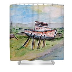 Abandoned Fishing Boat Shower Curtain by Clyde J Kell