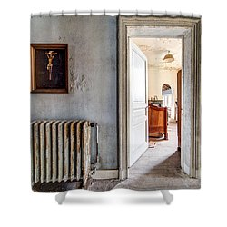 abandoned Jesus - urban exploration Shower Curtain by Dirk Ercken