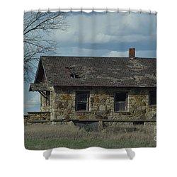 Abandoned Kansas Stone House Shower Curtain
