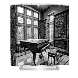 Abandoned Piano Monochroom- Urban Exploration Shower Curtain by Dirk Ercken
