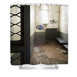 Abandoned Prison Cell With Grafitti Of Eye On Wall Shower Curtain by Dirk Ercken