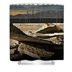 Shower Curtain featuring the photograph Abandoned Ruins On The Eastern Shore Of The Salton Sea by Randall Nyhof