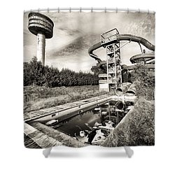 abandoned swimming pool - Urban decay Shower Curtain by Dirk Ercken
