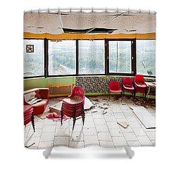 Abandoned Tower Restaurant - Urban Panorama Shower Curtain by Dirk Ercken