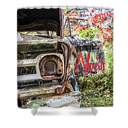 Shower Curtain featuring the photograph Abandoned Truck With Spray Paint by Edward Fielding