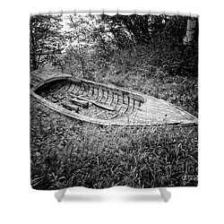 Shower Curtain featuring the photograph Abandoned Wooden Boat Alaska by Edward Fielding