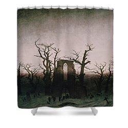 Abbey In The Oakwood Shower Curtain by Caspar David Friedrich