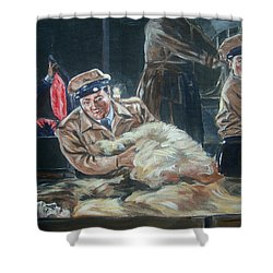 Abbott And Costello Meet Frankenstein Shower Curtain by Bryan Bustard