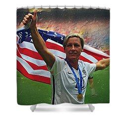 Abby Wambach Us Soccer Shower Curtain by Semih Yurdabak