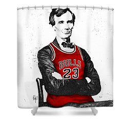 Abe Lincoln In A Bulls Jersey Shower Curtain