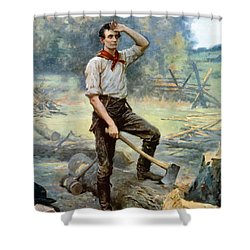 Abe Lincoln The Rail Splitter  Shower Curtain