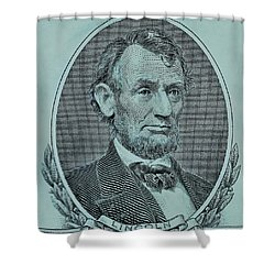 Shower Curtain featuring the photograph Abe On The 5 Lite Blue by Rob Hans