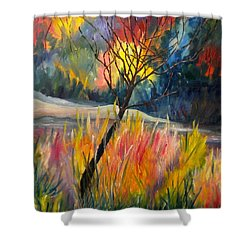 Ablaze Shower Curtain by Renate Nadi Wesley