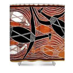 Aboriginal Birds Shower Curtain by Vagabond Folk Art - Virginia Vivier