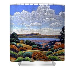 Shower Curtain featuring the painting Above San Mateo by Gary Coleman