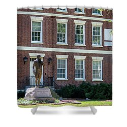 Shower Curtain featuring the photograph Abraham Baldwin Statue At Uga by Parker Cunningham