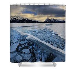 Abraham Lake Ice Bubbles Shower Curtain