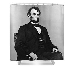 Abraham Lincoln Portrait - Used For The Five Dollar Bill - C 1864 Shower Curtain by International  Images