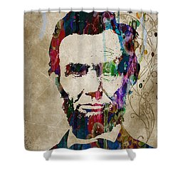 Abraham Lincoln Watercolor Modern Abstract Pop Art Color Shower Curtain