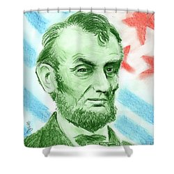 Shower Curtain featuring the drawing Abraham Lincoln  by Yoshiko Mishina