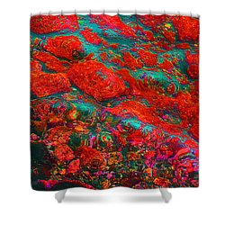 Shower Curtain featuring the digital art Abstract - Red by Kerri Ligatich
