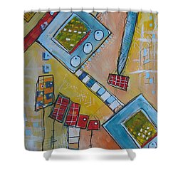 Abstract 74 Shower Curtain by Karin Husty
