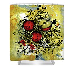 Abstract Acrylic Painting Apples II Shower Curtain