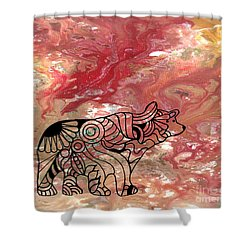 Abstract Acrylic Painting Bear And Zentangle Art Shower Curtain