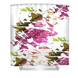 Abstract Acrylic Painting Broken Glass Purple And Green Shower Curtain