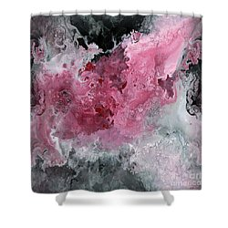Abstract Acrylic Painting Red Black And White Shower Curtain