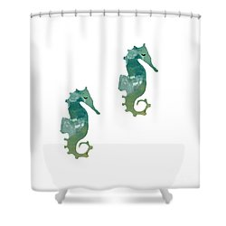 Abstract Acrylic Painting Sea Horse Shower Curtain