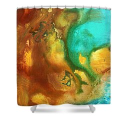 Abstract Art Colorful Turquoise Rust River Of Rust I By Madart  Shower Curtain by Megan Duncanson
