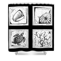 Abstract Art Contemporary Coastal Sea Shell Sketch Collection By Madart Shower Curtain by Megan Duncanson