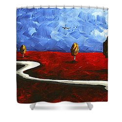 Abstract Art Original Landscape Painting Winding Road By Madart Shower Curtain by Megan Duncanson