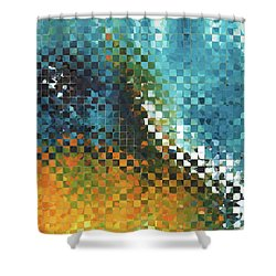 Shower Curtain featuring the painting Abstract Art - Pieces 9 - Sharon Cummings by Sharon Cummings