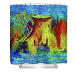Abstract Artgo With The Flow Shower Curtain by Sherri's Of Palm Springs