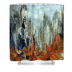 Shower Curtain featuring the painting Abstract Autumn by Tatiana Iliina