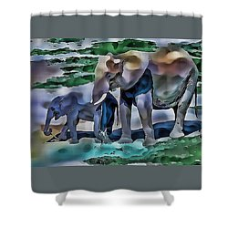 Abstract Baby Elephant  Shower Curtain
