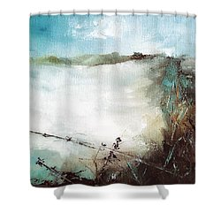 Abstract Barbwire Pasture Landscape Shower Curtain