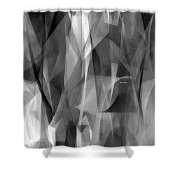 Shower Curtain featuring the digital art Abstract Black And White Symphony by Rafael Salazar