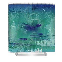 Shower Curtain featuring the digital art Abstract Blue Green by Robert G Kernodle